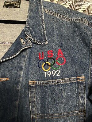 Vintage Polo Ralph Lauren 1992 Olympic Denim Jacket XL USA Stadium Pwing Cycle