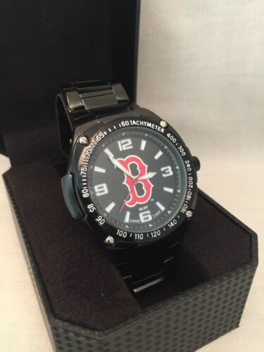 Boston Red Sox Watch Matte Black Stainless Case and Strap Re
