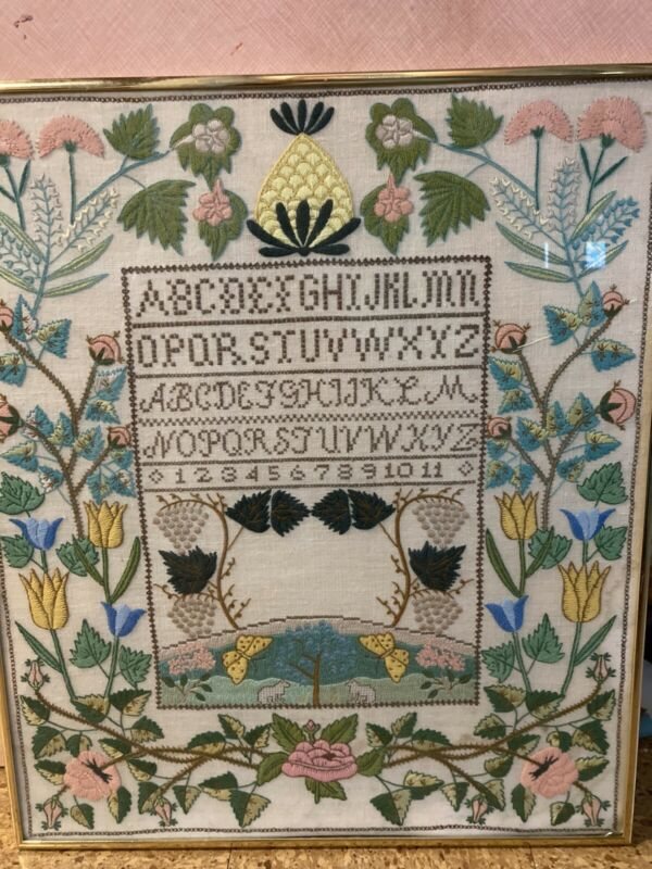 FRAMED! Vintage Cross Stitch ABC Sampler Needlework Mid Century Folk Art