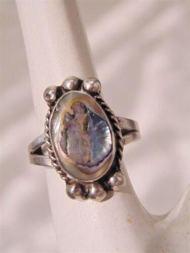 Vtg Mexico Sterling Silver Abalone Oblong Ring 6 3/4 Signed Eagle Bell 2 Mark