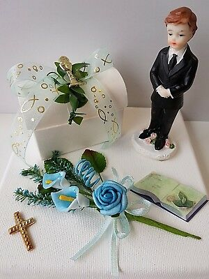 Geldgeschenk Kommunion Konfirmation Junge Rose blau Bibel Kreuz Sticker Kelch ()