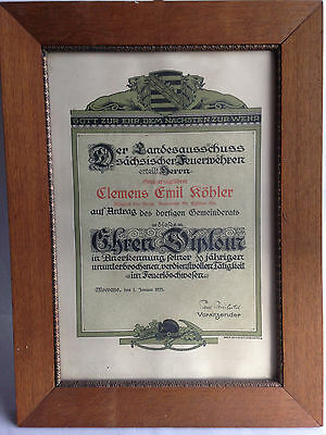 alte Feuerwehr Urkunde Meerane von 1925,sächsische Feuerwehr,20 Jahre Tätigkeit