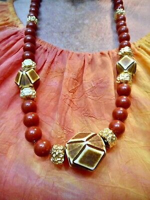 60s -70s Jewelry – Necklaces, Earrings, Rings, Bracelets Vintage Burn't Sienna & Brown 1960's Statement Necklace $14.99 AT vintagedancer.com