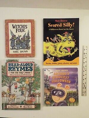 Halloween Book Read Aloud (4-lot-Marc Brown-Scared Silly! Halloween-Poems-Witches 4-Read-Aloud Rhymes-VG**)