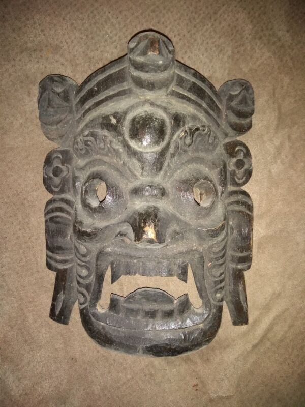 """Hand Carved Wooden Asian Mask Nepalese or Tibetan 10"""" x 7"""""""