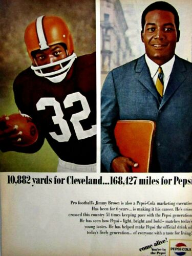 Jim Brown Cleveland Browns 1965 Pepsi Cola Original Print Ad 8.5 x 11""