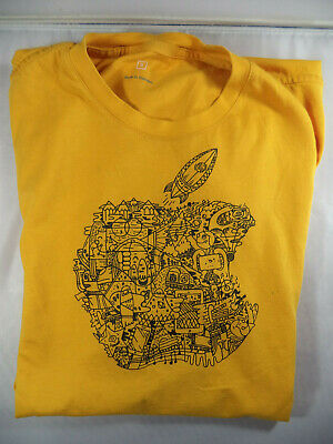 Offical APPLE STORE LOGO T-Shirt Employee Field Trip Camp Conference YELLOW BNWT