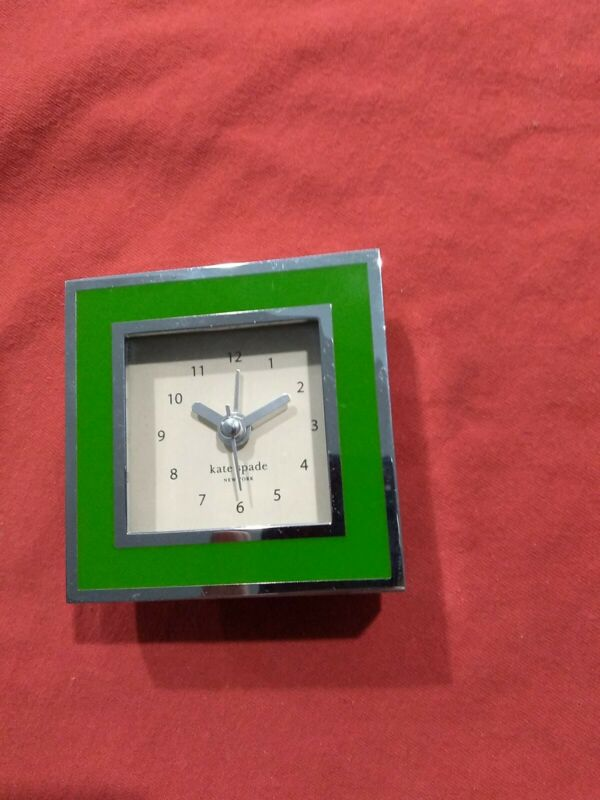 Kate Spade green and silver 3.5in Clock used working