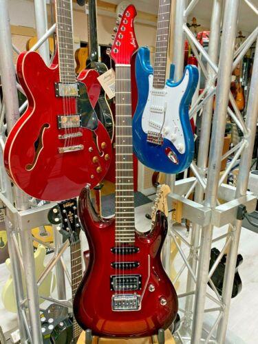 Aria MAC STANDARD, Metallic Red Shade Finish Electric Guitar. Slim Body