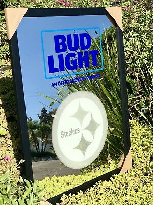 Bud Light Pittsburgh Steelers NFL Football AFC Beer Bar Mirror Man Cave Pub
