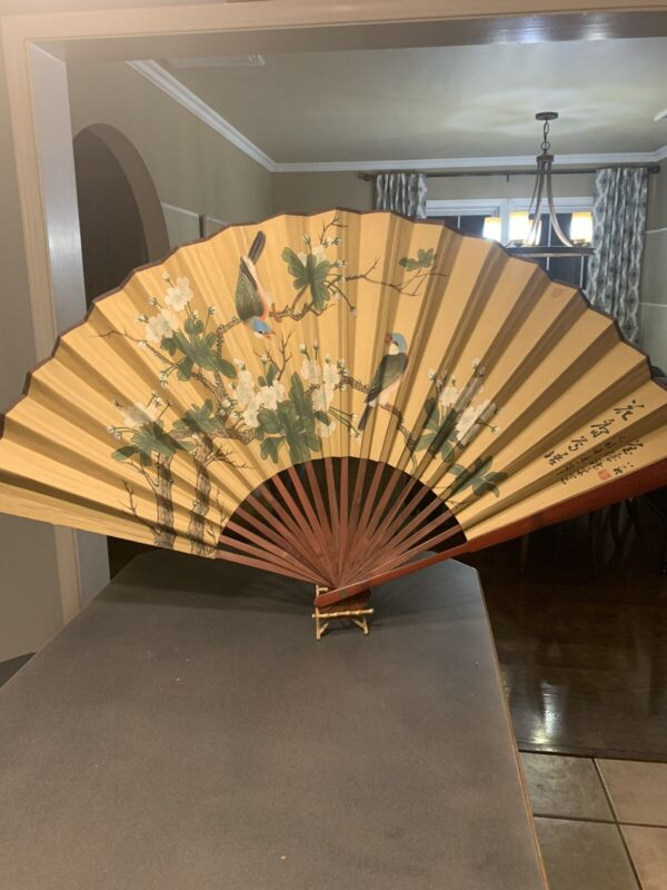"""Large Vintage Oriental 45"""" Japanese or Chinese Bamboo Wall FAN Flowers Birds"""