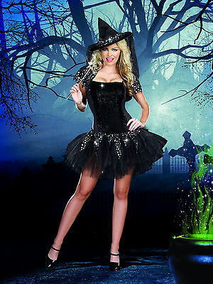 Sexy Adult Halloween Black Starry Night Witch Costume w Hat