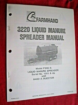 Farmhand 3220 Liquid Manure Spreader Operators Maintenance Parts Manual