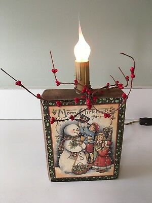 Snowman Merry Christmas Decoupage Block Wood Lamp