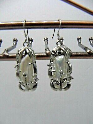 Biwa Baroque Pearl Silver Plate Hook Dangle Earrings USA SELLER Baroque Pearl Drop Earrings