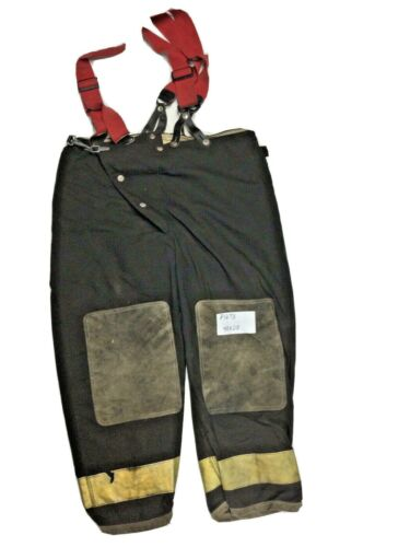 40x28 Globe Black Firefighter Turnout Pants with Yellow Tape & Suspenders P1273