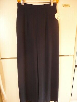 80s Dresses | Casual to Party Dresses Vtg 1980s High Waist Black Crepe Evening Pants w/ Attached  Open Front Skirt $14.99 AT vintagedancer.com