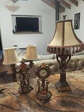 Antique Set of 2 Lamps and Clock Tottenham Maribyrnong Area Preview