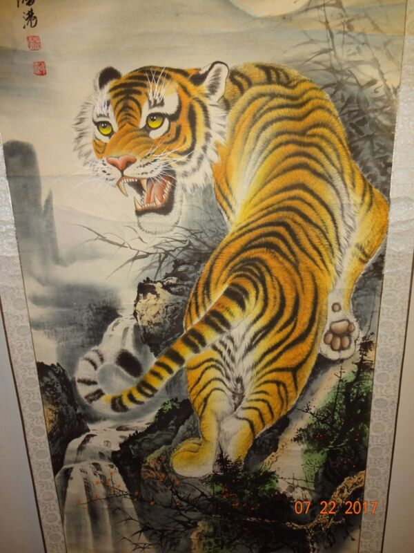 Vintage Asian wall hanging Scroll TIGER painting, Artist Signed
