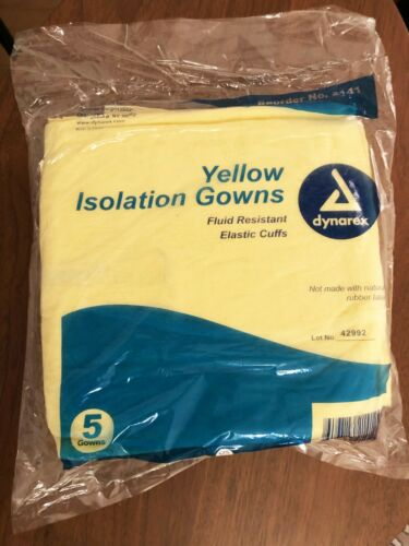 Dynarex Yellow Isolation Gown (5 pack) Level 2 - Latex Free - Fluid Resistant