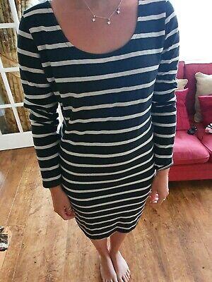 ichi dress dark blue strip size L