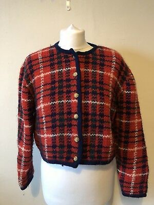 Vintage Tartan Waist Length Cardigan Jacket Size 12 100% British Wool Unique