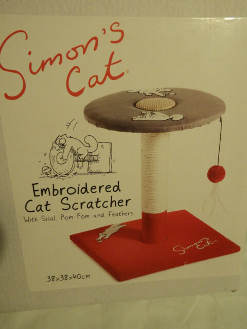 Simon's Cat Embroided Cat Scratcher with Sisal/ Pom Pom/ Feathers | FREE P&P
