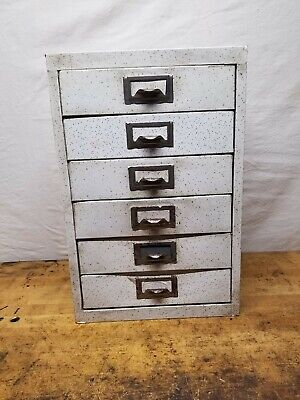 Vintage Industrial 6 Drawer Metal Organizer Cabinet Workshop Crafts
