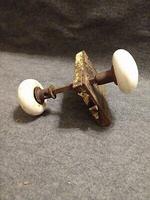 """Vintage Creamy White Round 2.25"""" Porcelain Door Knob Set w/ Original Lock Plate"""