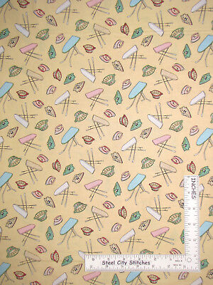 Basket Ironing Board Iron Yellow Cotton Fabric Windham Laundry Day By The Yard