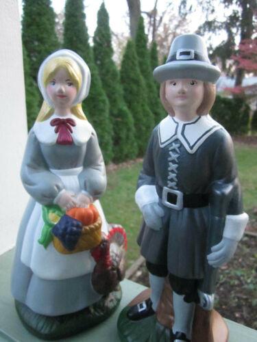 Thanksgiving Pilgrim Couple Ceramic Statue Figurine Handmade with Mold 1981