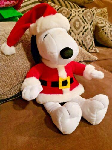 """Stuffed Plush Santa Snoopy Toy 14"""" Peanuts"""