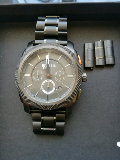 b488495736e Fossil MID-SIZE CHRONOGRAPH BLACK STAINLESS STEEL WATCH
