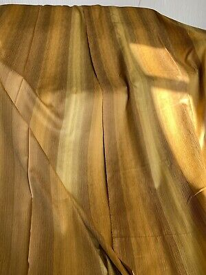 Pair of vintage retro, gold with brown stripe design, curtains/fabric 50s, 60s