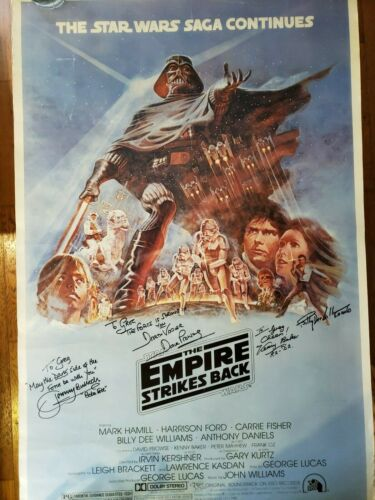STAR WARS Cast SIGNED Autograph Empire Strikes Poster Dave Prowse Mayhew Bulloch