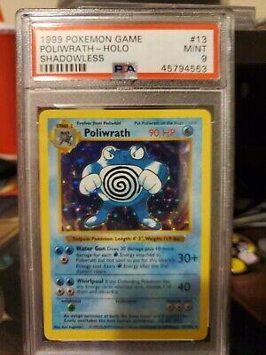 1999 Pokemon Base Set Shadowless Poliwrath Holo PSA 9 Mint 13/102
