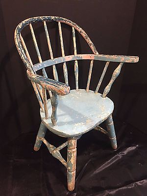 Antique Vintage Shabby Cottage Chic Wooden Child's Chair in Old Blue Paint