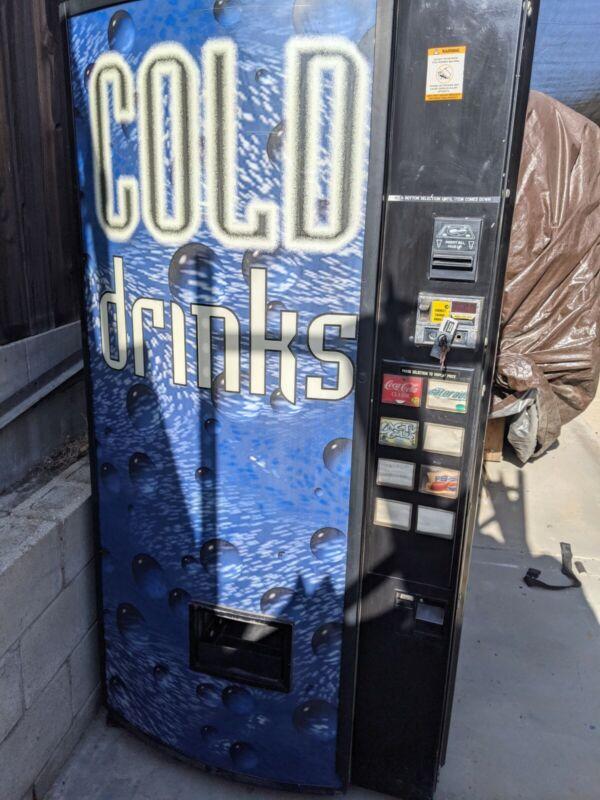 Dixie Narco 368-8 Flat Front Soda Vending Machine  W/Bill Acceptor