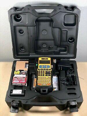 Dymo Rhino 5200 Label Thermal Printer W Case Manual Cd Label Stock Plug Batt