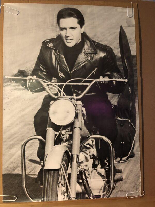 Elvis Presley Motorcycle Black And White Original Vintage Poster Pin-up 1967