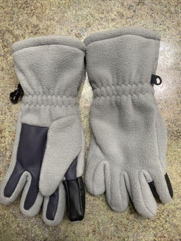 Unisex Lands End EZ Touch Gloves Kids Small Grey fleece