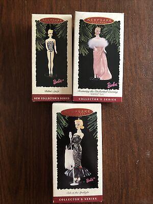 Lot of 3 Hallmark Keepsake Barbie Christmas Vintage Ornaments New in Box