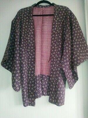 Vintage Authentic Japanese Silk Kimono Haori Jacket Purple