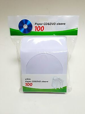 1000 CD DVD White Paper Sleeve with Clear  Window and Flap Envelopes