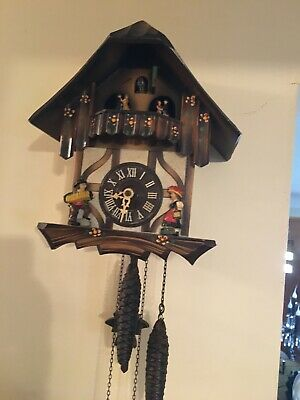 Vintage Cuckoo Clock Germany Chalet Style Revolving Dancers, Music Box And Bird  Chalet Style Cuckoo Clock