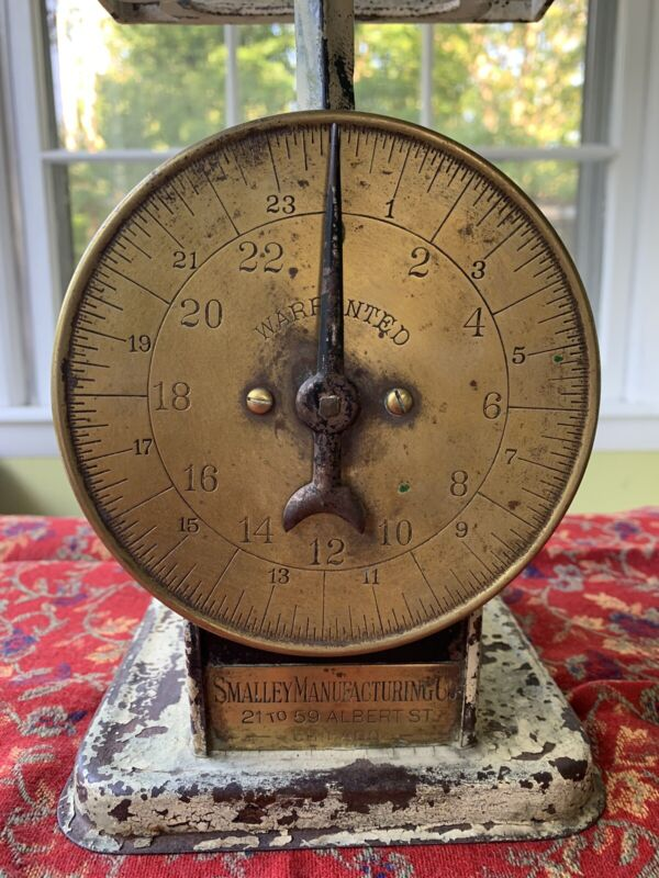 RARE~ VINTAGE ANTIQUE SMALLEY MANUFACTURING Co. CHICAGO Kitchen Scale BRASS
