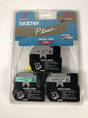 Brother Me793 P-touch M Tape 3pack Black On Pink Green And Silver New