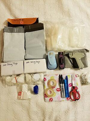 Clothing Price Tagging Gun Barbs String Tags Pins Tag Punch Ribbon Curler Kit