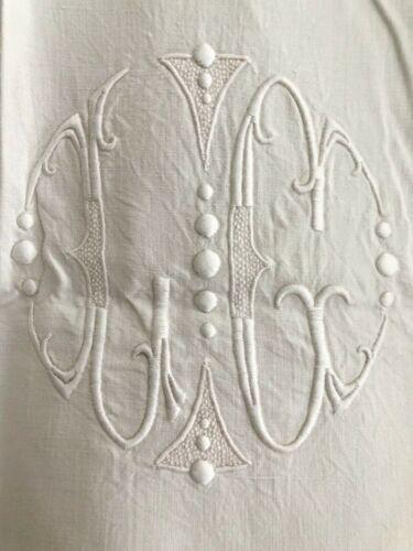 Art Nouveau LONG French LINEN COTTON TROUSSEAU sheet OPENWORKS LC mono c1920