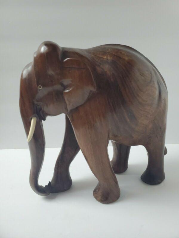 "Large Vintage Solid TeakWood? Hand Carved Elephant statue 10"" 7 Lbs Thailand"